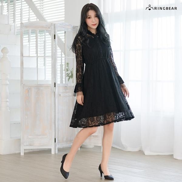 連衣裙--甜美優雅氣質蕾絲百褶立領珍珠荷葉長版長袖洋裝(黑.杏M-3L)-A390眼圈熊中大尺碼