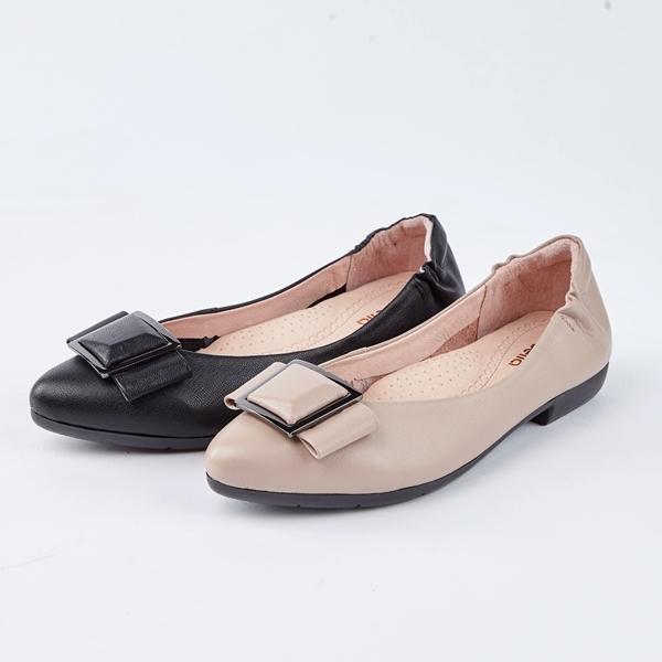 itabella.方型飾釦牛皮尖頭平底鞋(8591-80棕色)