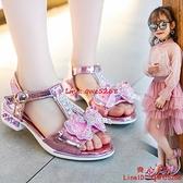 2021洋氣女童涼鞋子夏蝴蝶結女孩高跟公主鞋潮中大童鞋子【齊心88】