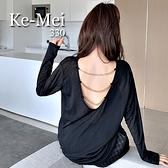 克妹Ke-Mei【ZT67908】BOOM歐美單美背鍊條摟空寬鬆T恤上衣