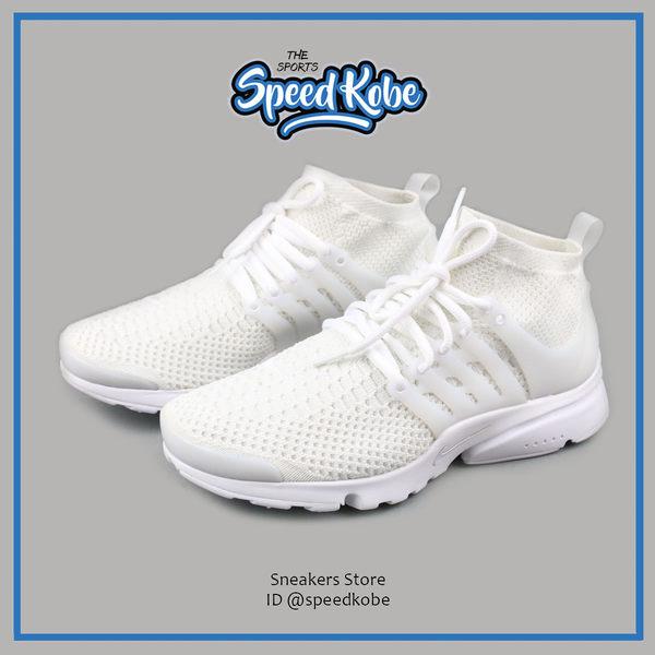 NIKE 魚骨鞋 Presto Flyknit 全白 襪套 魚骨 休閒 慢跑 少女 超萌 安柏兒 女 835738-100【SP】