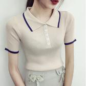 夏季港味上衣女翻領修身顯瘦純色針織短袖