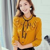 襯衫春夏新款韓版修身長袖襯衫女甜美荷葉領繫帶百搭顯瘦打底襯衣 快速出貨