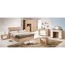 【森可家居】多莉絲6尺皮面床組(全組) 7ZX122-3 雙人床臥室房間組 木紋質感 無印風 北歐風 衣櫃