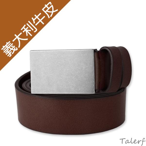 TALERF單層紳士休閒皮帶(咖啡色/共3色)-男 /真皮 牛皮/台灣製造