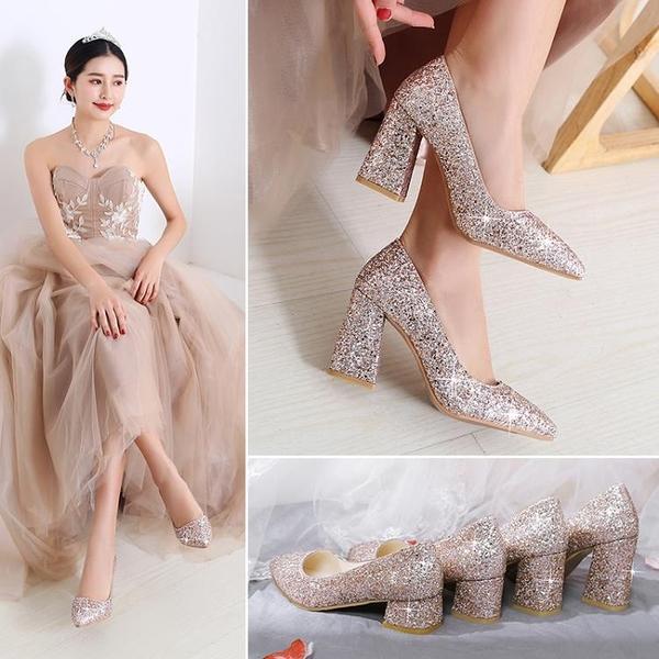 亮片鞋婚鞋女粗跟伴娘鞋宴會禮服新娘鞋高跟結婚鞋舞臺演出鞋金色 幸福第一站