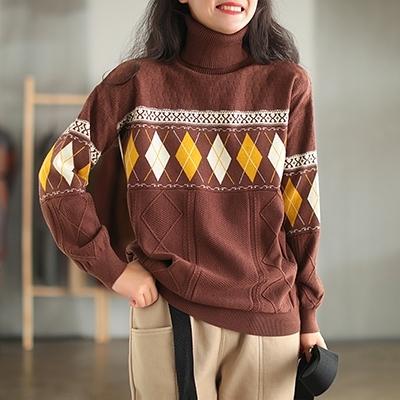 包芯紗提花保暖毛衣 高領寬鬆套頭長袖針織衫/3色-夢想家-1118