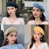 貝雷帽黑色八角貝雷帽女百搭英倫復古韓版日系潮風畫家蓓蕾帽子【快速出貨】