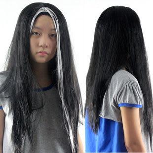 黑白假髮 60CM特長 高溫絲 萬聖節道具