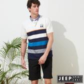 【JEEP】條紋拼接短袖POLO衫-白
