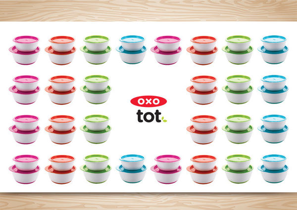 OXO tot 有蓋防滑雙碗組合(蘋果綠)