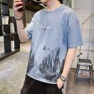 男士短袖2021新款夏季寬鬆五分半袖潮牌潮流情侶長袖t恤夏裝衣服【快速出貨】