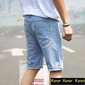 牛仔短褲 薄款破洞牛仔短褲男五分褲韓版
