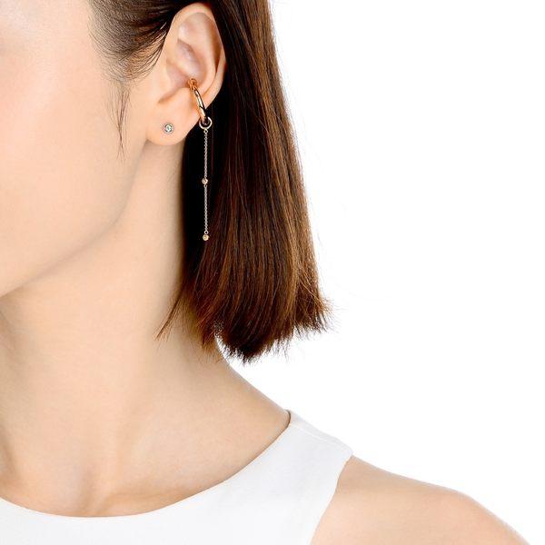 點睛品 Ear Play 18K玫瑰金圓珠垂吊耳飾(單只)