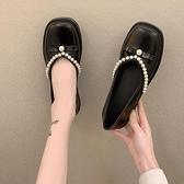 娃娃鞋 鞋子女2021新款復古法式單鞋一腳蹬懶人小皮鞋軟底休閒珍珠豆豆鞋