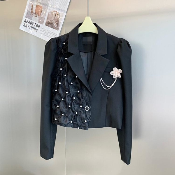 外套 长袖 百搭外套長袖公主花外套女珍珠短小西裝洋氣設計感小眾上身NE68-A1 胖妞衣櫥