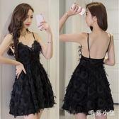 小禮服 新款吊帶連身裙心機小禮服顯瘦性感露背尾牙洋裝OB3569『毛菇小象』