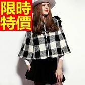 斗篷外套-經典黑白格時尚短版披風女披風65n50[巴黎精品]