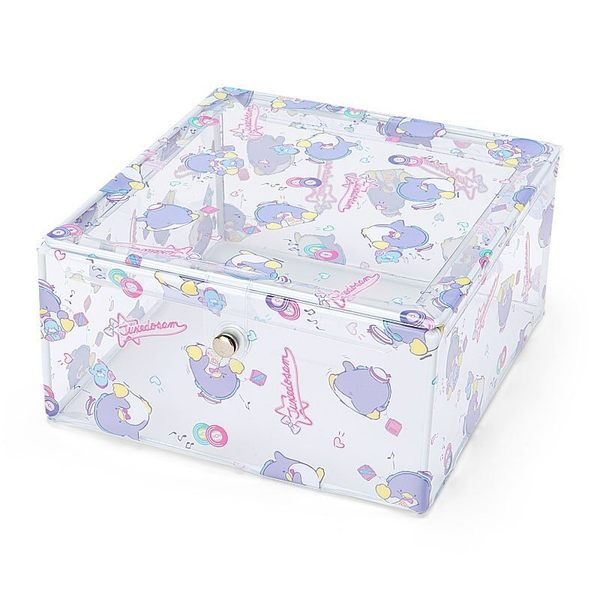 〔小禮堂〕山姆企鵝 方形透明塑膠布磁吸式掀蓋收納盒《藍紫.滿版》置物盒 4901610-08236