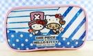 【震撼精品百貨】ONE PIECE&HELLO KITTY_聯名海賊王喬巴&凱蒂貓系列~筆袋-藍橫條(亮片)