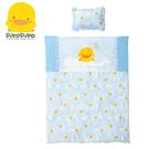 黃色小鴨 彩繪海洋冬夏兩用被+枕(藍)