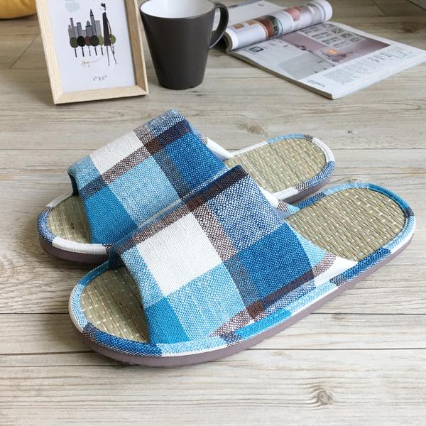 小日常-真草蓆室內拖鞋-英倫格紋-藍