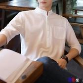 貝貝居 男韓版立領短袖襯衫(5色)半袖七分袖流襯衫SX1026