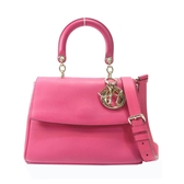 Dior 迪奧 桃紅色牛皮翻蓋手提斜背包 Be Dior Flap Bag【二手名牌BRAND OFF】