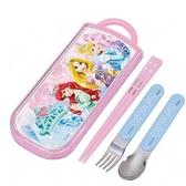 〔小禮堂〕迪士尼 公主 日製滑蓋三件式餐具組《綠粉.皇冠》環保餐具.兒童餐具 4973307-27267