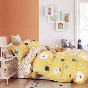 BUTTERFLY-純棉三件式枕套床包組-綠植天地-黃(加大)