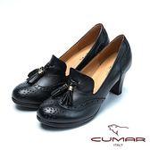 ★2018春夏新品★【CUMAR】復古時尚台灣製造舒適真皮高跟鞋(黑色)