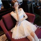 夏裝新款女裝裙子禮服高腰一字肩露肩白色蓬蓬蕾絲連衣裙短裙