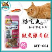 *~寵物FUN城市~*台灣製造《貓吃魚 貓零食系列》CEF-004 鮭魚雞肉粒40g (貓零食/點心)