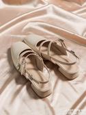 低跟鞋 小CK女鞋粗跟方頭仙女風珍珠包頭鞋女夏低跟一字扣 博世