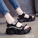 平底涼鞋 羅馬涼鞋女平底鞋新款夏季時尚百搭水鉆魔術貼ins厚底鬆糕鞋 韓菲兒