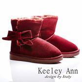 ★零碼出清★Keeley Ann 獨家設計 ~ 俏麗蝴蝶結保暖真皮雪靴(紅)【ANGEL系列】