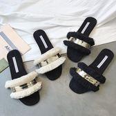 露趾拖鞋女夏季新款百搭時尚外穿簡約一字拖鞋平底懶人涼拖鞋 sxx2199 【雅居屋】