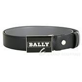 BALLY 配色字母徽標方型釦式雙面用牛皮腰帶(黑色) 1940540-58