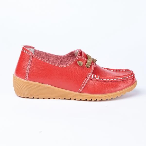 kadia.懶人鞋-牛皮平底休閒鞋(8512-60紅色)
