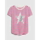 Gap女童棉質舒適圓領短袖T恤546074-粉色條紋
