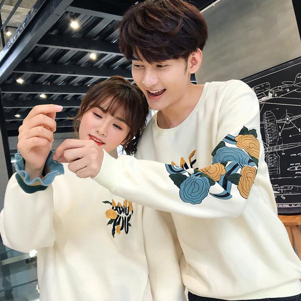 情侶裝 情侶裝秋裝2020韓版新款學生男女長袖套頭加絨上衣寬鬆bf外套衛衣 店慶降價