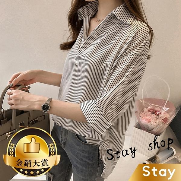 【Stay】韓版BF風男友風寬鬆顯瘦條紋襯衫 短袖上衣 女裝 衣服 T桖【T199】
