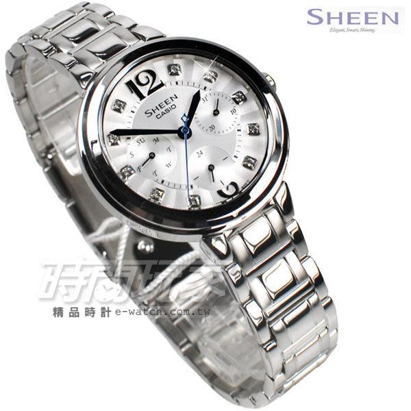 SHEEN SHE-3048D-7A 羅馬時刻 施華洛世奇腕錶 女錶 施華洛世奇鑽錶 白色 女錶 SHE-3048D-7AUDR CASIO卡西歐