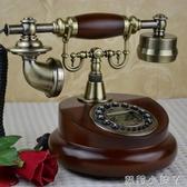 復古電話機歐式座機家用仿古電話機無線時尚創意美式實木旋轉電話 NMS蘿莉小腳丫