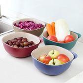 塑料雙層瀝水籃洗菜盆廚房洗菜籃子客廳果盤家用創意水果盆「名創家居生活館」