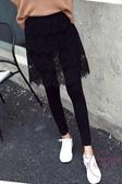 打底褲 薄款蕾絲假兩件打底褲裙女外穿包臀裙褲短款大尺碼胖高腰連褲裙S-4XL 【快速出貨】