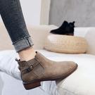 ins馬丁靴女短筒2019秋冬季新款靴子百搭平底粗跟英倫加絨小短靴