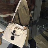 韓國大容量休閒帆布包多口袋實用單肩手提斜背包女士大包 奇思妙想屋