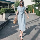 短袖洋裝 素色 開衩 抓皺 長裙 荷葉邊袖 洋裝 連身裙【NDF6492】 BOBI  05/10
