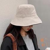 雙面戴漁夫帽女春夏季韓版日系百搭帽子遮陽休閒盆帽【橘社小鎮】
